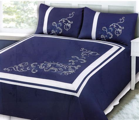Royal Blue Duvet Cover Royal Blue White Embroidered Polyester King Quilt