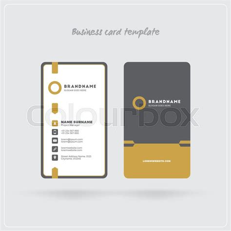 Business Card Back Side Template Vertical by Golden And Gray Vertical Business Card Print Template