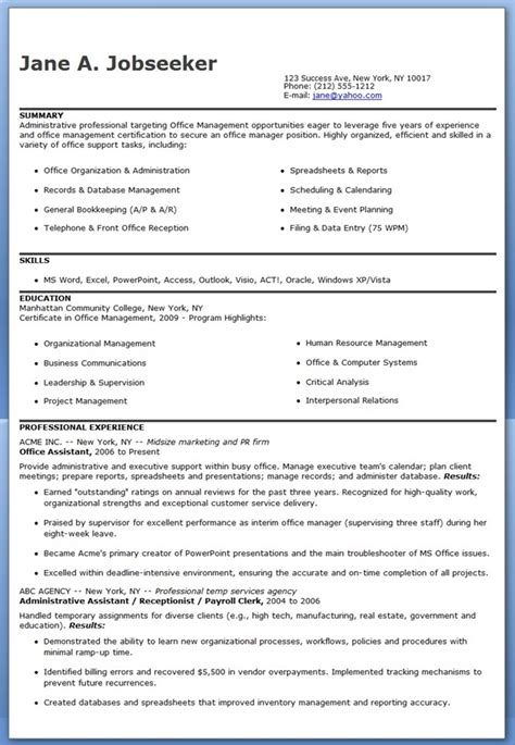 resume format for office assistant office assistant resume sle resume downloads