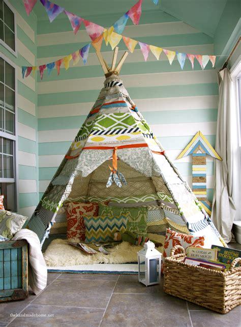 Handmade Teepee - wigwam tents blending playroom ideas into cozy