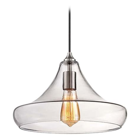 Brushed Nickel Pendant Lighting Minka Brushed Nickel Mini Pendant Light With Clear Glass Shade 2262 84 Destination Lighting