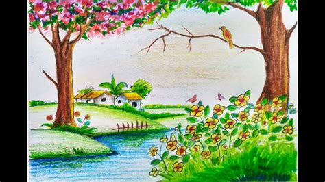 spring pictures to draw sketch of nature spring how to draw scenery of beautiful
