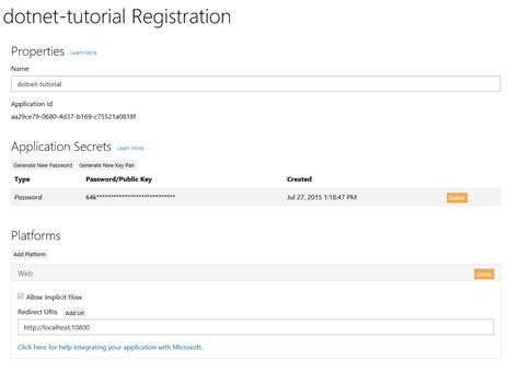 tutorial web config jasonjoh dotnet tutorial libraries io