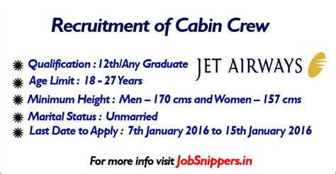 jet airways cabin crew recruitment jet airways india limited recruitment for cabin crew in