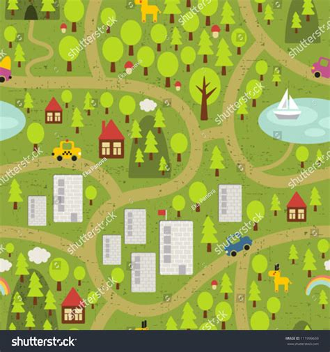svg pattern maps cartoon map seamless pattern small town stock vector