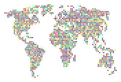 world dot map dot map of the world colour on white by michael tompsett