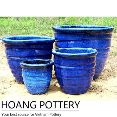 blue round glazed ceramic planter hpth003 hoang pottery