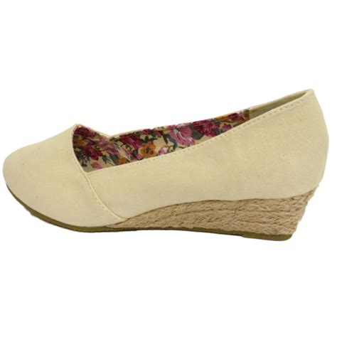 womens slip on comfy wedge kitten low heel pumps