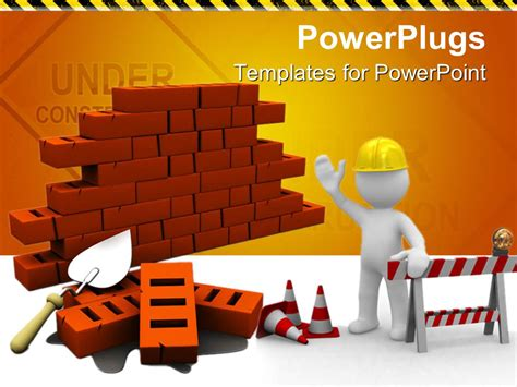 Powerpoint Template Bricks With Construction Instruments And An Engineer Giving Instructions Powerpoint Templates Building Construction
