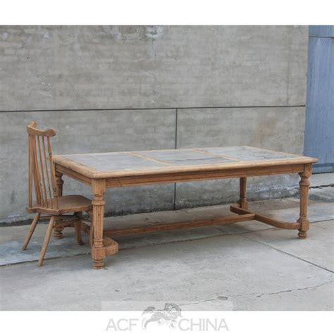 reclaimed pinewood dining table with inlay top acf