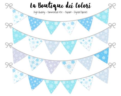 free printable snowflake birthday banner winter bunting banners party flags clipart christmas