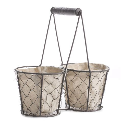 rustic brown chicken wire and linen basket decorative
