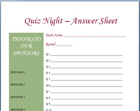 trivia template in answer sheet printable new calendar template