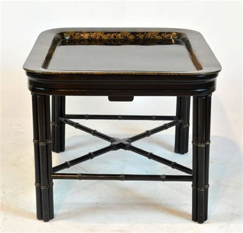 Expanding Tray Table by Expandable Regency Style Faux Bamboo Black Lacquer
