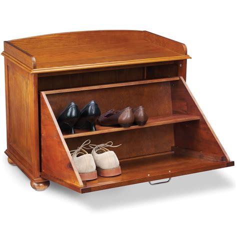storage shoe bench the shoe hiding storage bench hammacher schlemmer