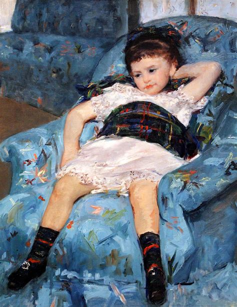 little girl in a blue armchair cassatt s little girl in a blue armchair up close