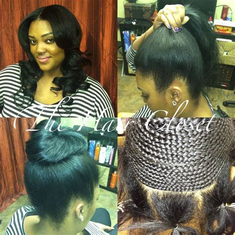ponytail and bangs sew in tutorial for black women pictures tutorial ponytail sew in weave black hairstle