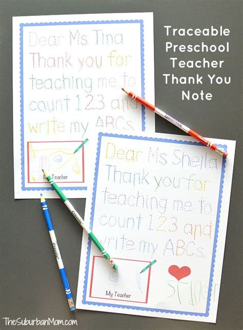 Thank You Letter For Appreciation Week Traceable Preschool Thank You Note And Note