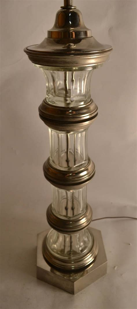 column glass table l glass column l with silver details for sale at 1stdibs