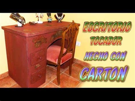 como hacer  mueble de carton escritorio tocador  cajones tutorial manualidades recicladas