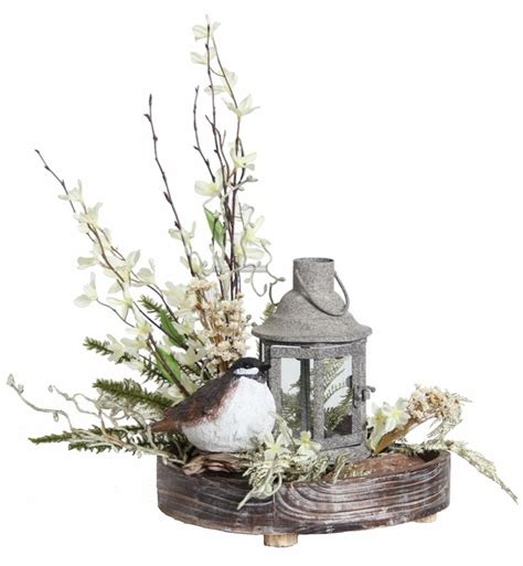 Prairie Gardens Chaign Il by Forsythia Floral Arrangement With Bird Lantern