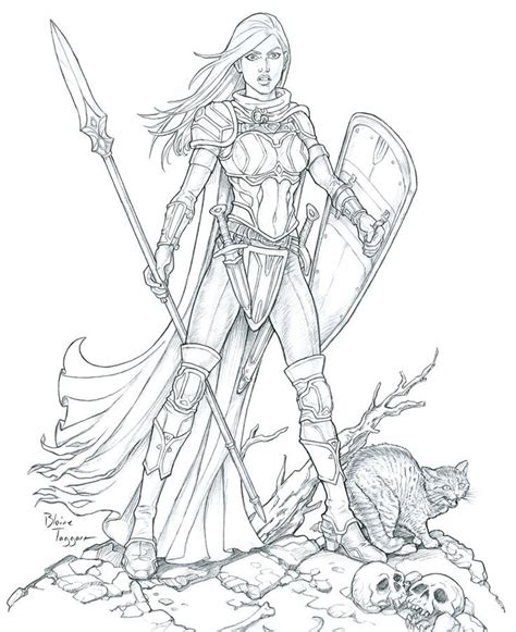 Warrior Girl Coloring Page   cool female warrior line art bing images coloring