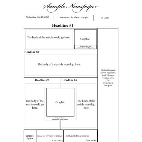 newspaper layout pages options for a nespaper front page layout