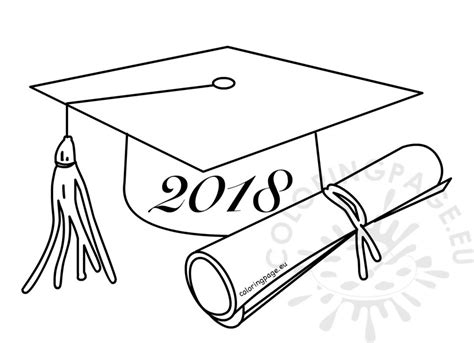 Class Of 2018 Graduation Cartoon Drawing Coloring Page Coloring Pages 2018