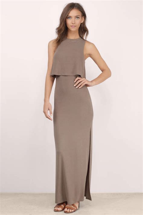 taupe color dress taupe maxi dress brown dress high neck dress taupe
