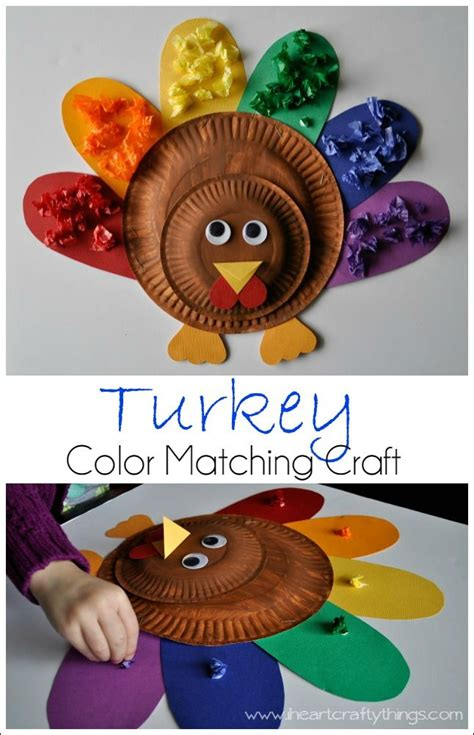 Turkey Craft Paper Plate - turkey color match craft paper plate thanksgiving