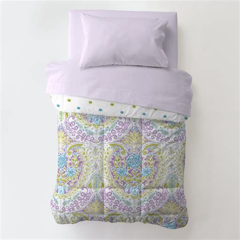 aqua and purple jasmine toddler bed comforter carousel