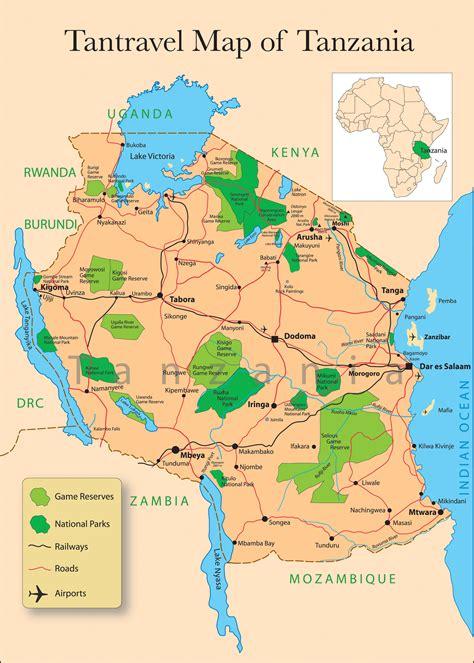 map of tanzania tansania karte tierwelt