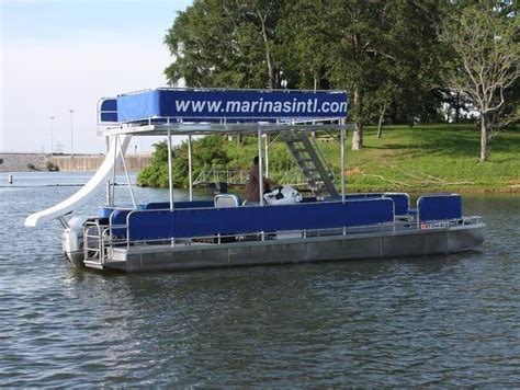 pontoon boat with grill and slide double decker pontoon boat with slide
