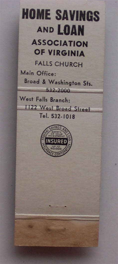 1960s matchbook home savings and loan falls church va ebay