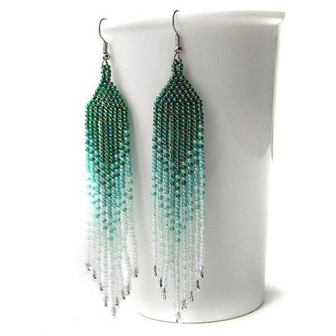 beadwork green green teal white seed bead earrings beadwork by