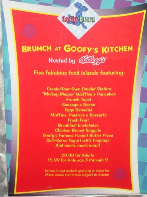 Goofys Kitchen Menu by Pin Goofys On