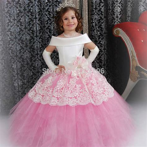 new pattern gaun images gorgeous custom white satin pink puffy toddler ball gown