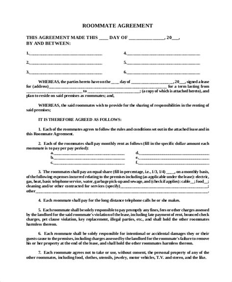 Agreement Letter For Roommate Roommate Agreement 12 Free Pdf Word Documents Free Premium Templates