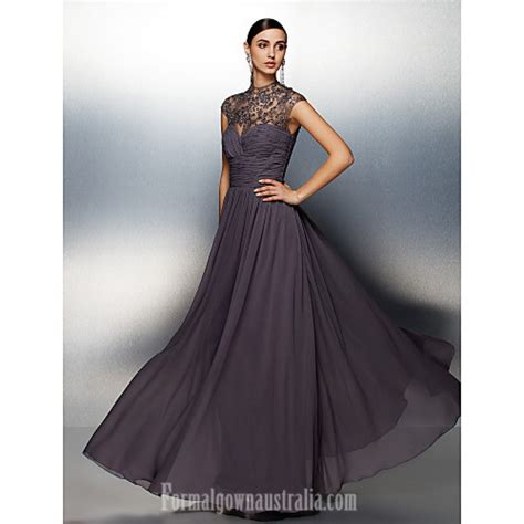 Australia Formal Evening Dress Silver Plus Sizes Dresses Petite A line High Neck Long Floor