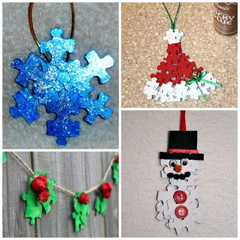 puzzle piece christmas ornaments for kids to make crafty