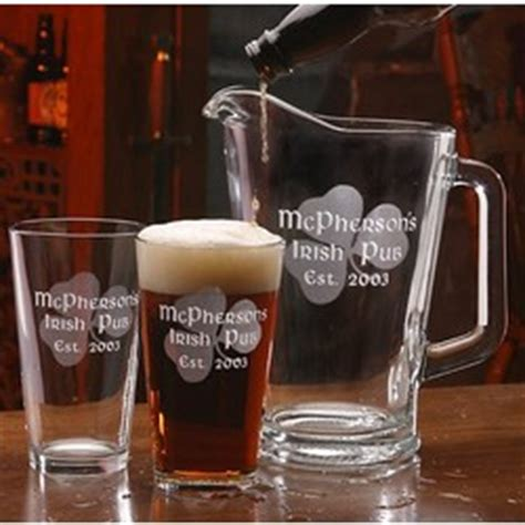 personalized barware personalized irish shamrock barware set findgift com