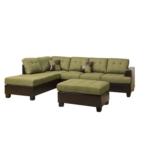 Poundex Bobkona Winden 3 Piece Reversible Sectional Sofa