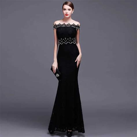 Dress Sabrina Hitam gaun dress brokat mewah model sabrina warna hitam 30a30