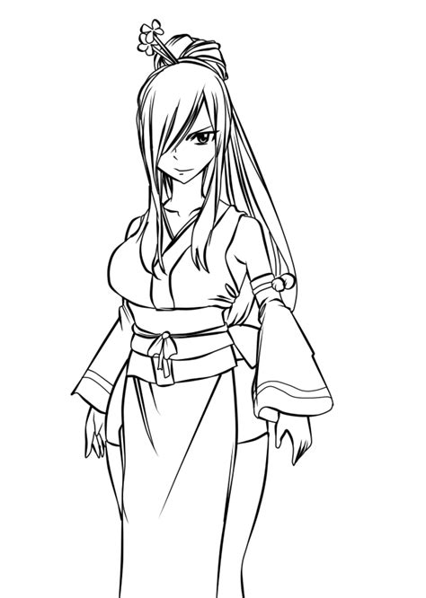 japanese girl kimono coloring page erza in kimono lineart by ishthak on deviantart