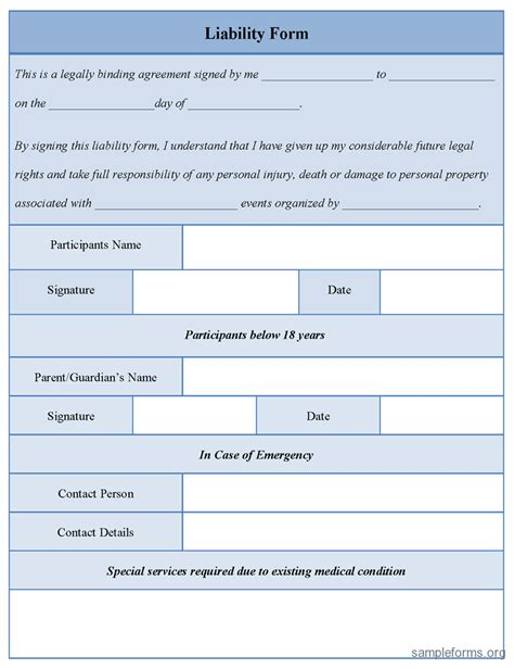 liability form template free printable documents