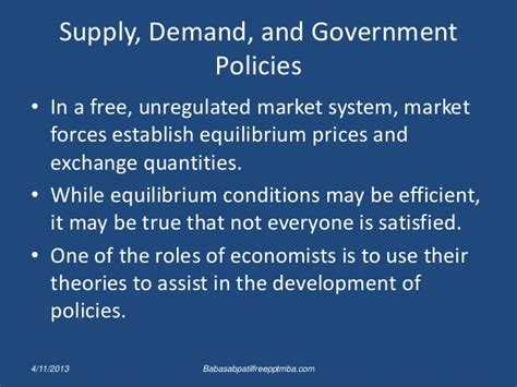 Mba Exchange Pricing by Supply Demand And Government Policies Ppt Of Mba