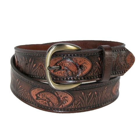 mens big leather fish embossed bridle belt by