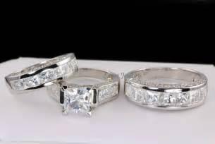 matching wedding ring sets his hers matching engagement wedding bridal ring set 925