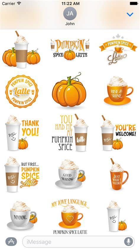 design love fest pumpkin spice latte pumpkin spice latte imessage stickers aj design