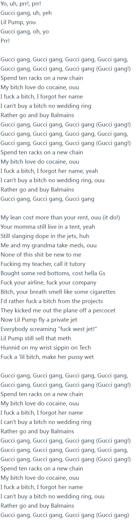 lil pump lyrics lil pump gucci gang lyrics official video